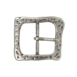 1 1/2 Inch Single Prong Antique Silver Hammered Square Belt