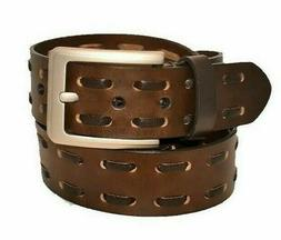 100% Genuine Leather Double Lace-Up Belt w/ Polished Nickel