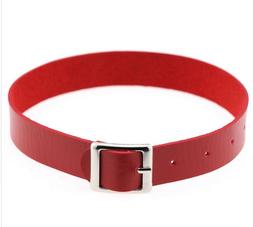 """11"""" - 14"""" red faux leather belt buckle choker adjustable nec"""