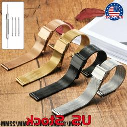 14-22mm Stainless Steel Mesh Watch Band Replacement Strap Be
