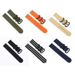 18/20/22/24mm Fabric Woven Nylon Watch Strap Band Black Buck