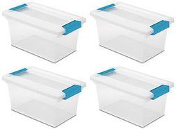 4 Pack) Sterilite 19628604 Medium Clip Box Clear Storage Tot