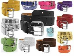 2 Row 2 Hole Punch Leather Belt 2 Prong Buckle Unisex Womens