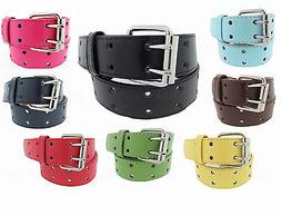 2 Row 2 Hole Punch Leather Belt 2 Prong Buckle Unisex Mens W