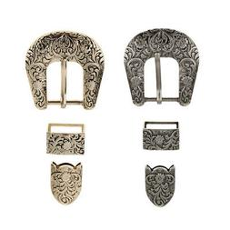 2 Sets Alloy Pin Buckle Leather Belt Spare Replacement Belt