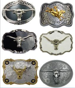 3D Bull Belt Buckle Western Cowboy Grey Silver Gold Rodeo To