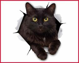 3D Cat Stickers 2 Pack Cheeky BLACK Decals For Wall Bedroom