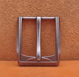 40mm Engraved Men Pin Waist Leather Single Prong Clips Belt
