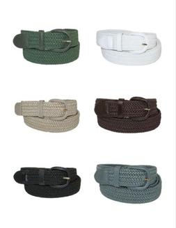 7001 Men's New Leather Covered Buckle Woven Elastic Stretch