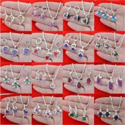 925 Sterling Silver Topaz Gemstone Pendant +Ring+Earrings Ne