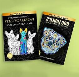 Adult Coloring Book Pack Set of 2.  Coloring books of Cats a