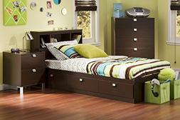 South Shore Cakao Kids 3-Piece Bedroom Set with Bookcase Hea