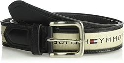 Tommy Hilfiger Men's Ribbon Inlay Belt, black/natural, 32