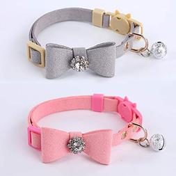 GOPET Adjustable Cat Collar Set Breakaway with Diamonds Bowt