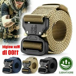 Adjustable Men Nylon Webbed Military Belt Buckle Tactical Re