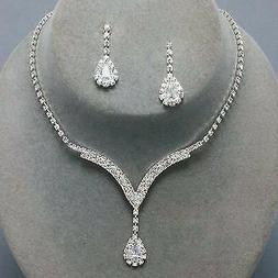 alloy silver plated crystal necklace earrings bridal