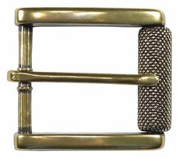 "Antique Brass Roller Belt Buckle for 1 1/2"" Belts w/ Texture"