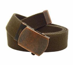Antique Copper Men's Slider Belt Buckle with Canvas Web Belt