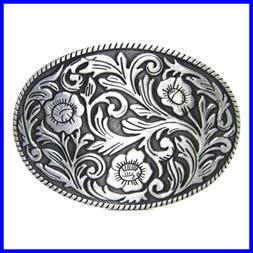 Antique Engraved Flower Solid Metal Belt Buckle Men Women We