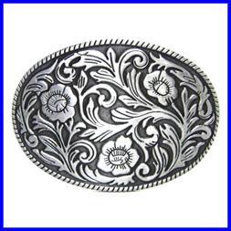 Antique Engraved Flower Solid Metal Belt Buckle Men Women We