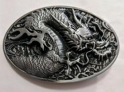 Antique Silver color DRAGON Western style Belt Buckle Full M