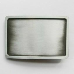 Antique Silver Rectangle Blank  Metal Belt Buckle