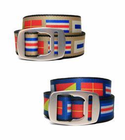 Croakies Artisan NAUTICAL FLAGS Web Belt with Bottle Opener