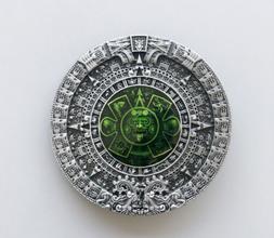 Aztec Mayan Calendar Green Enamel Metal Fashion Belt Buckle