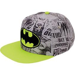 Batman Logo Boys NEON Flat Bill Snap Back Baseball Hat, Yout