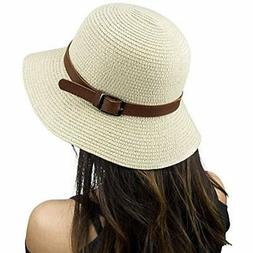 Beige Floppy Beach Hat - Wide Brim Straw Sunhat For Women Wi