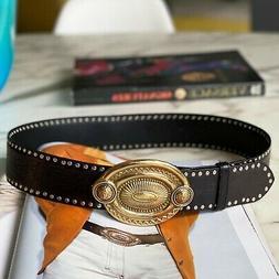GIANNI VERSACE belt black studded w/ oval Medallion buckle 9