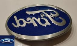 Ford Belt Buckle , Blue Enamel Fill Pewter Finish US Seller