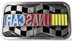NASCAR BELT BUCKLE Enamel Finish Metal 4 x 2 1/4