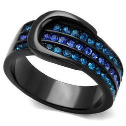 belt buckle ring black ip stainless steel