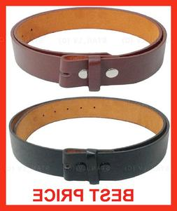 BLACK BROWN PLAIN LEATHER BELT STRAP SNAP ON NO BUCKLE  SOLI