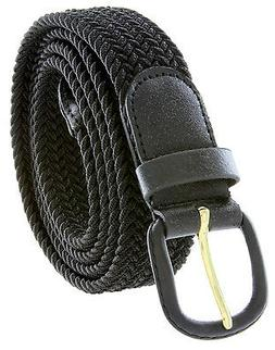 Black Leather Covered Buckle Woven Elastic Stretch Belt 1-1/
