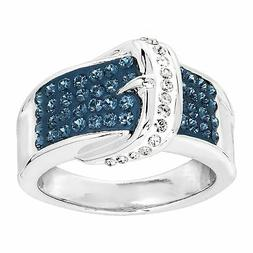 Blue & White Belt Buckle Ring with Crystals in Rhodium-Plate