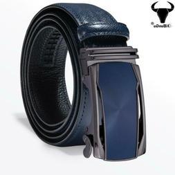 Blue Leather Mens Belts Automatic Buckles Ratchet Dress Jean