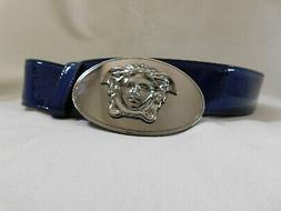 Versace Blue  Leather Oval Medallion Medusa Belt Buckle Belt