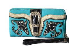 blue turquoise western rhinestone stud belt buckle zipper cl