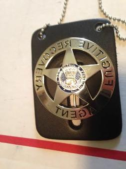 BOUNTY HUNTER BADGE ROUND METAL FUGITIVE RECOVERY AGENT W/LE