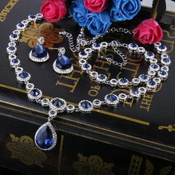 Bridal Teardrop Necklace Earrings Set Blue Austrian Crystal