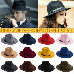 Brim with Belt Buckle Cowboy Hat Panama Jazz Hat Felt Fedora