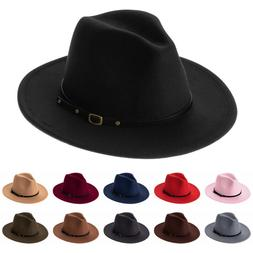 Brim with Belt Buckle Felt Fedora Hats Cowboy Hat Panama Jaz