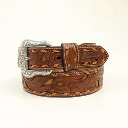 Brown FILIGREE Leather ~MAN'S WESTERN BELT~ Silver Buckle Co