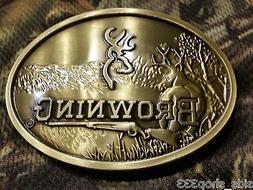 Browning Embossed Metal Browning Logo Belt Buckle Bronze col