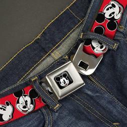 Buckle Down Seatbelt Belt - Disney Mickey Mouse - Red Black