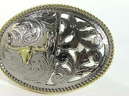 Bull Western Longhorn Belt Buckle Men Women cowgirl Cowboy f