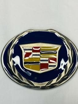 "Cadillac Geneal Motors Belt Buckle 3.5""x2.5"" Blue Metal"