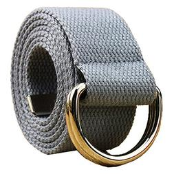 Canvas Web Belt Double D-ring Buckle 1 1/2 Inch Extra Long M